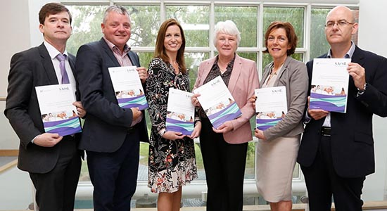 SOAR Screening and Brief Intervention for Problem Alcohol and Substance Use. Launch event with Dr Eamon Keenan, HSE; Paul Goff, HSE; Ruth Armstrong, HSE; Minister Catherine Byrne TD; Dr Ide Delargy, ICGP; James O'Shea, Office of Nursing and Midwifery Services.